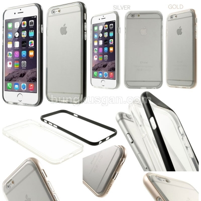 * iPhone 6 Plus / iPhone 6S Plus - Snap On Metal Bumper with Transparent Soft Case