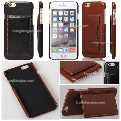 * iPhone 6 / iPhone 6S - Leather Textured Standing Hard Case with Card Slot