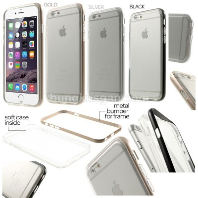 * iPhone 6 / iPhone 6S - Snap On Metal Bumper with Transparent Soft Case