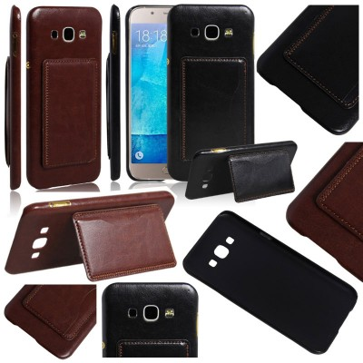 * Samsung Galaxy A8 - Leather Textured Standing Hard Case with Card Slot