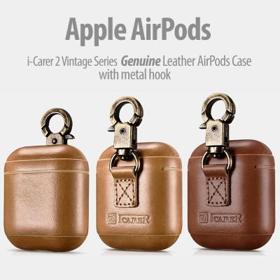 ^ AirPods - iCarer Vintage Series Genuine Leather Case with Metal Hook