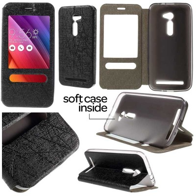 $ Asus Zenfone 2 5.0 ZE500CL - Double Window Leather Case