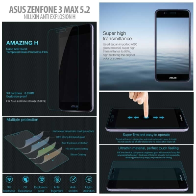 ^ Asus Zenfone 3 Max 5.2 inch ZC520TL - Nillkin Anti-Explosion H Tempered Glass Screen Protector