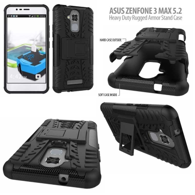 ^ Asus Zenfone 3 Max 5.2 inch ZC520TL - Heavy Duty Rugged Armor Stand Case }