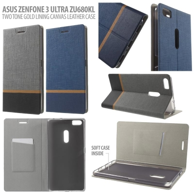 * Asus Zenfone 3 Ultra ZU680KL - Two Tone Gold Lining Canvas Leather Case }