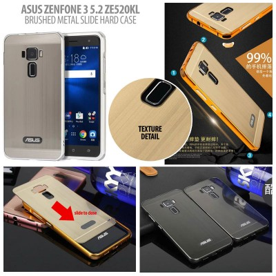 ^ Asus Zenfone 3 5.2 Inch ZE520KL - Brushed Metal Slide Hard Case }