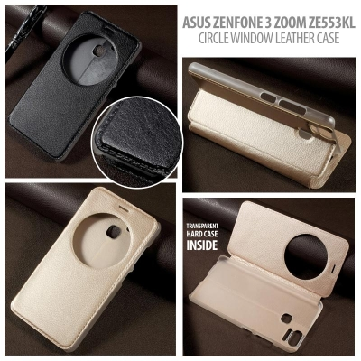 * Asus Zenfone Zoom S 5.5 Inch / Zenfone 3 Zoom ZE553KL - Circle Window Leather Case }