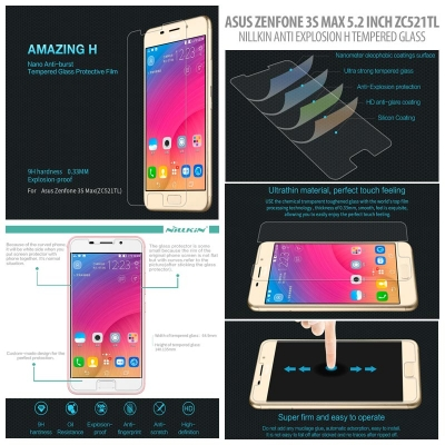 ^ Asus Zenfone 3s Max 5.2 Inch ZC521TL - Nillkin Anti-Explosion H Tempered Glass Screen Protector