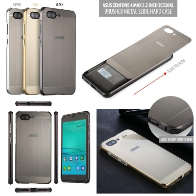 ^ Asus Zenfone 4 Max 5.2 Inch ZC520KL - Brushed Metal Slide Hard Case }