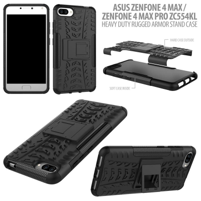 ^ Asus Zenfone 4 Max Pro / Zenfone 4 Max ZC554KL - Heavy Duty Rugged Armor Stand Case