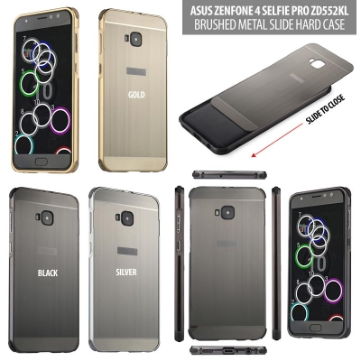 ^ Asus Zenfone 4 Selfie Pro ZD552KL - Brushed Metal Slide Hard Case }