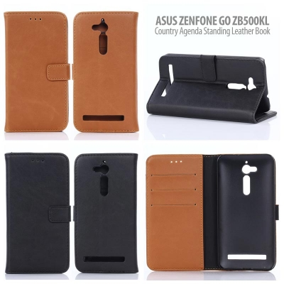 * Asus Zenfone Go ZB500KL - Country Agenda Standing Leather Book }