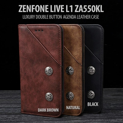 ^ Asus Zenfone Live L1 ZA550KL - Luxury Double Button Agenda Leather Case