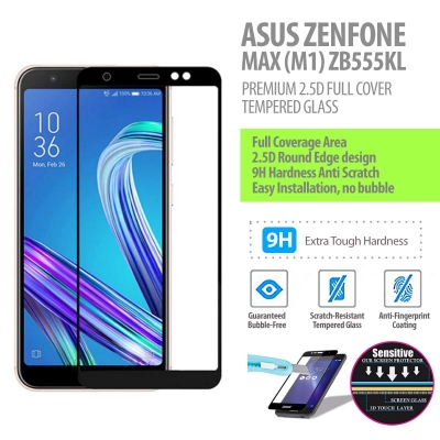 ^ Asus Zenfone Max M1 ZB555KL - Premium 2.5D Full Cover Tempered Glass