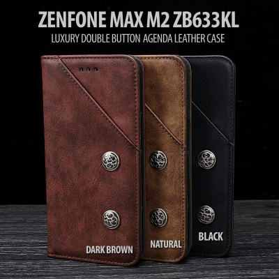 ^ Asus Zenfone Max M2 ZB633KL - Luxury Double Button Agenda Leather Case