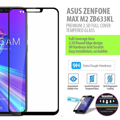 ^ Asus Zenfone Max M2 ZB633KL - PREMIUM 2.5D Full Cover Tempered Glass