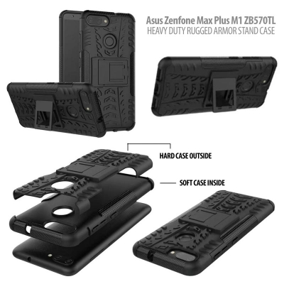 ^ Asus Zenfone Max Plus M1 ZB570TL - Heavy Duty Rugged Armor Stand Case }