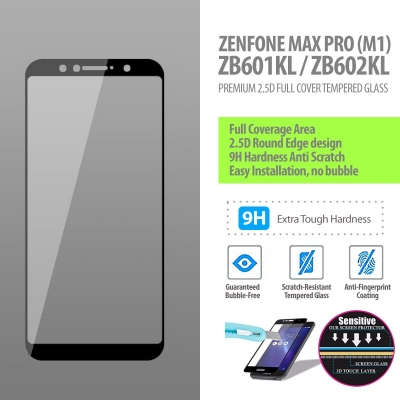 ^ Asus Zenfone Max Pro M1 ZB601KL / ZB602KL - Premium 2.5D Full Cover Tempered Glass