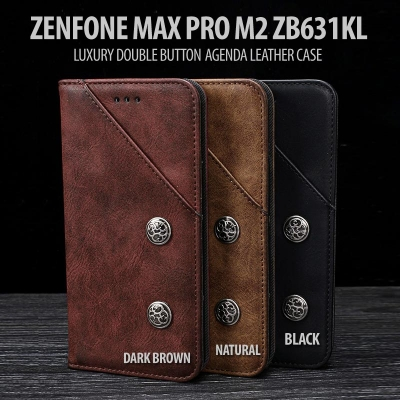 ^ Asus Zenfone Max Pro M2 ZB631KL - Luxury Double Button Agenda Leather Case