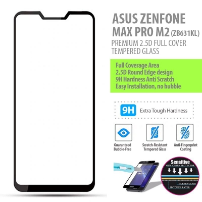 ^ Asus Zenfone Max Pro M2 ZB631KL - PREMIUM 2.5D Full Cover Tempered Glass
