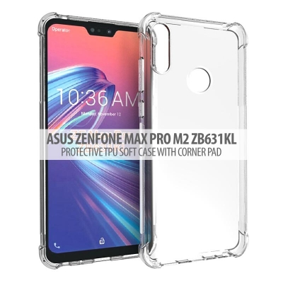 ^ Asus Zenfone Max Pro M2 ZB631KL - Protective TPU Soft Case With Corner Pad