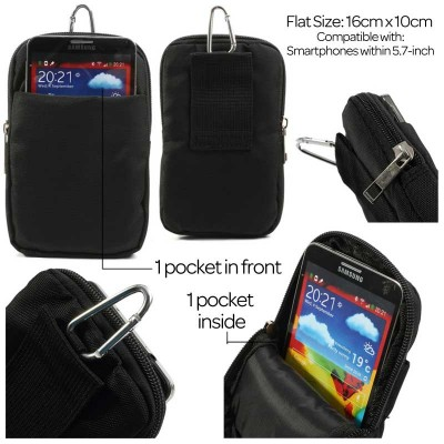 * Universal double pocket Black Zipper Bag Without Fold Cover 6.0inch (Mega2)