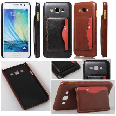 * Samsung Galaxy A7 A700 - Leather Textured Standing Hard Case with Card Slot