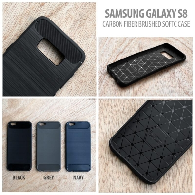 > Samsung Galaxy S8 - Carbon Fiber Brushed Soft Case