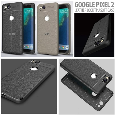 ^ Google Pixel 2 - Leather Look TPU Soft Case }