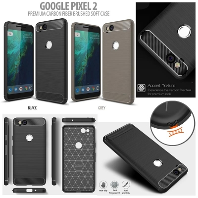 ^ Google Pixel 2 - PREMIUM Carbon Fiber Brushed Soft Case }