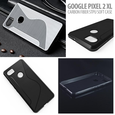 ^ Google Pixel 2 XL - Carbon Fiber STPU Soft Case }