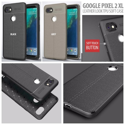 ^ Google Pixel 2 XL - Leather Look TPU Soft Case }