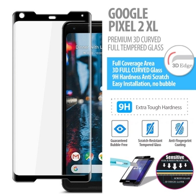 ^ Google Pixel 2 XL - PREMIUM 3D Curved Full Tempered Glass