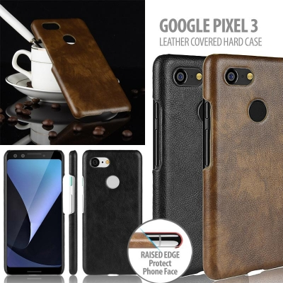 ^ Google Pixel 3 - Leather Covered Hard Case