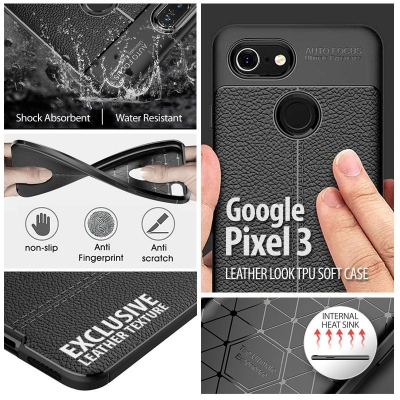 ^ Google Pixel 3 - Leather Look TPU Soft Case