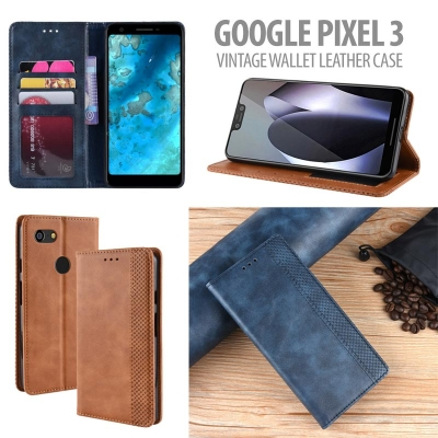 ^ Google Pixel 3 - Vintage Wallet Leather Case