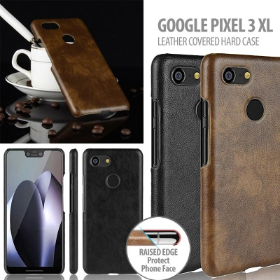 ^ Google Pixel 3 XL - Leather Covered Hard Case
