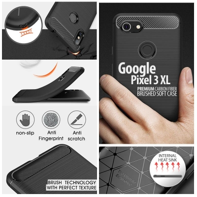 ^ Google Pixel 3 XL - PREMIUM Carbon Fiber Brushed Soft Case
