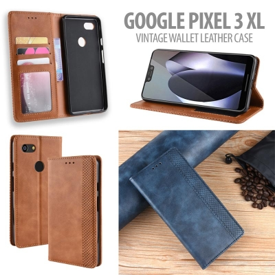 ^ Google Pixel 3 XL - Vintage Wallet Leather Case