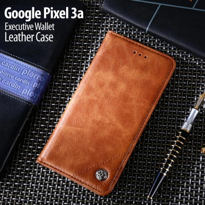^ Google Pixel 3a - Executive Wallet Leather Case