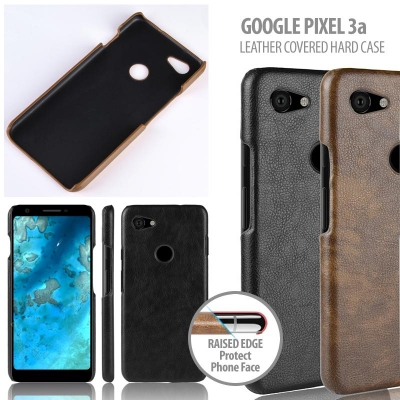^ Google Pixel 3a - Leather Covered Hard Case