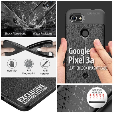 ^ Google Pixel 3a - Leather Look TPU Soft Case