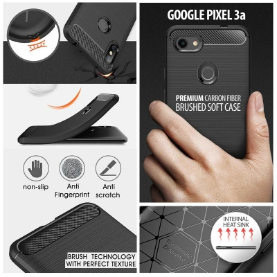 ^ Google Pixel 3a - PREMIUM Carbon Fiber Brushed Soft Case