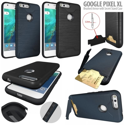 NR Google Pixel XL - Brushed Armor with Secret Stand Case }