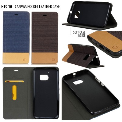 * HTC 10 - Canvas Pocket Leather Case