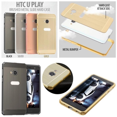 ^ HTC U Play - Brushed Metal Slide Hard Case