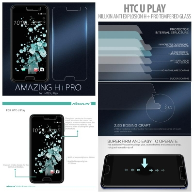 ^ HTC U Play - Nillkin Anti-Explosion H Plus Pro Tempered Glass Screen Protector