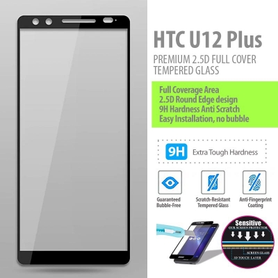 ^ HTC U12 Plus - PREMIUM 2.5D Full Cover Tempered Glass