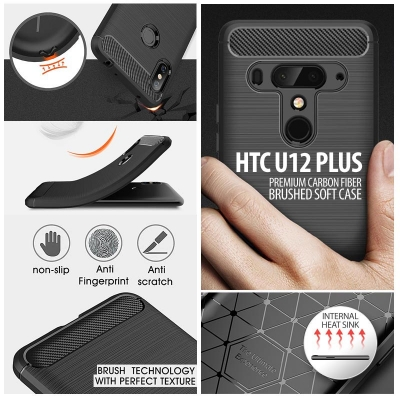 ^ HTC U12 Plus - PREMIUM Carbon Fiber Brushed Soft Case