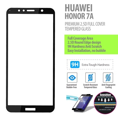 ^ Huawei Honor 7A - Premium 2.5D Full Cover Tempered Glass